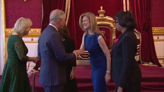 interior shots of prince charles and camilla duchess of cornwall meeting dawn hudson, ceo of the academy of motion picture arts and sciences and... - academy of motion picture arts and sciences stock-videos und b-roll-filmmaterial