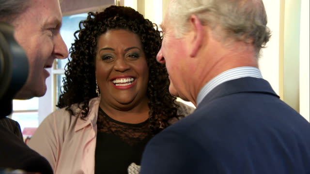 Interior shots of Prince Charles and Camilla Duchess of Cornwall meeting staff presentersand television personalities including Gino D'Acampo and...