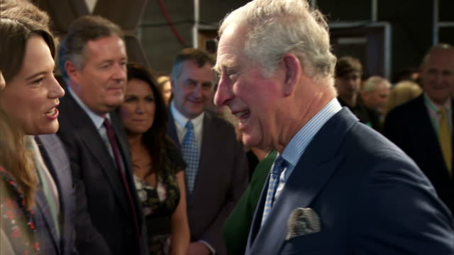 interior shots of prince charles and camilla duchess of cornwall meeting staff and presenters including piers morgan, susanna reid, lorraine kelly... - グロリア ハニフォード点の映像素材/bロール