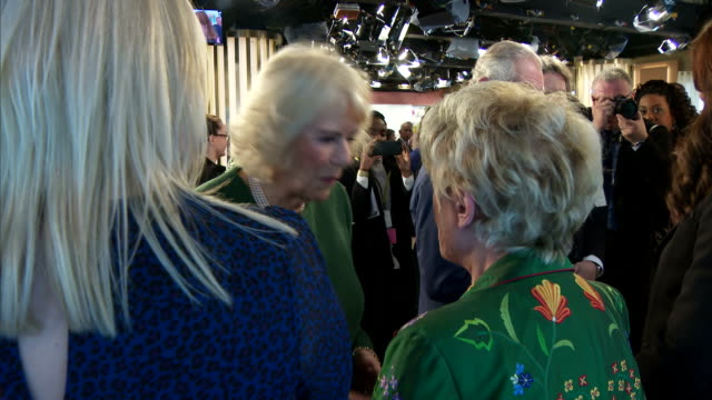 interior shots of prince charles and camilla duchess of cornwall meeting staff and presenters including gloria hunniford during a visit to itv... - グロリア ハニフォード点の映像素材/bロール
