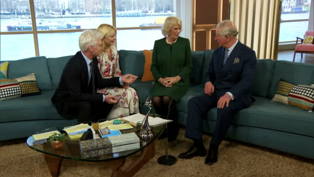 Interior shots of Prince Charles and Camilla Duchess of Cornwall meeting staff presenters and television personalities during a visit to ITV Studios...