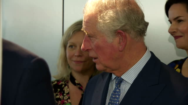 Interior shots of Prince Charles and Camilla Duchess of Cornwall speaking with television industry staff at a reception at ITV Studios to celebrate...