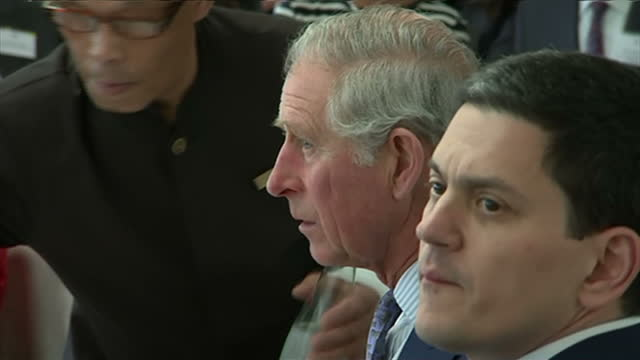 interior shots of prince charles and david miliband sat at a table during a trip to the us at a speech to the global ocean commission on march 18... - david miliband stock videos & royalty-free footage