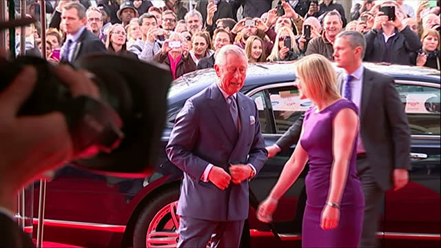 Interior shots of Prince Charles arriving at The Odeon Leicester Square for the Princes Trust Awards and greeting officials>> on March 12 2015 in...