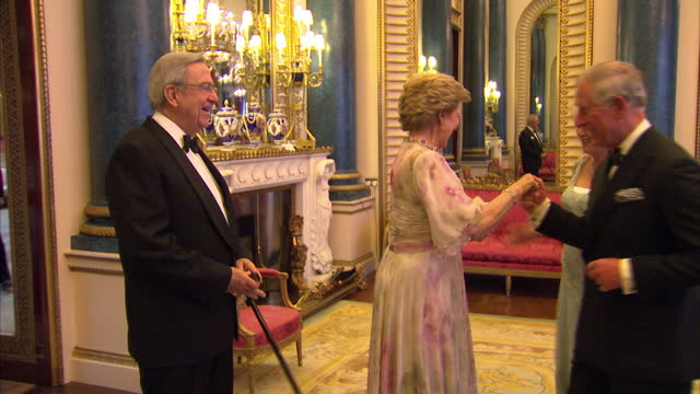 vídeos y material grabado en eventos de stock de interior shots of prince charles camilla duchess of cornwall greet king constantine ii and queen annemarie of greece at sovereign dinner prince... - 2012