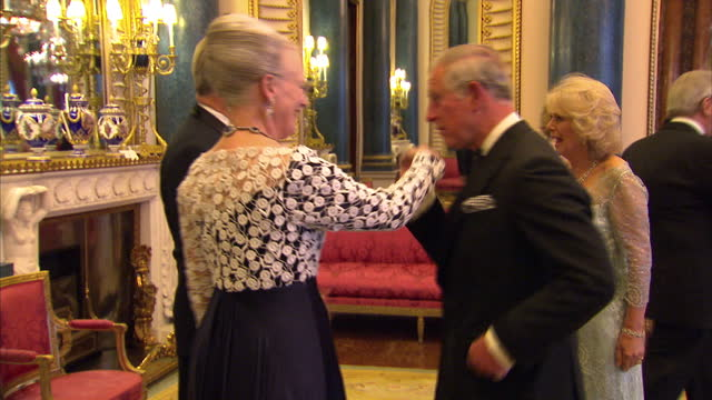 vídeos y material grabado en eventos de stock de interior shots of prince charles camilla duchess of cornwall greet queen margarethe ii of denmark and prince henrik of denmark at the sovereign... - 2012