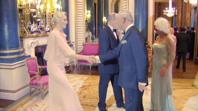 vídeos y material grabado en eventos de stock de interior shots of prince charles camilla duchess of cornwall greeting prince albert ii of monaco and princess charlene of monaco at sovereign dinner... - 2012