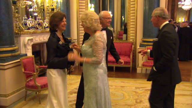 vídeos y material grabado en eventos de stock de interior shots of prince charles camilla duchess of cornwall greeting queen slivia of sweden and king carl xvi gustaf of sweden at the sovereign... - 2012