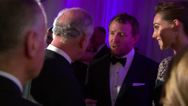 Interior shots of Prince Charles chats meeting Guy Ritchie and wife Jacqui Ainsley at The Prince's Trust Gala on February 04 2016 in London England