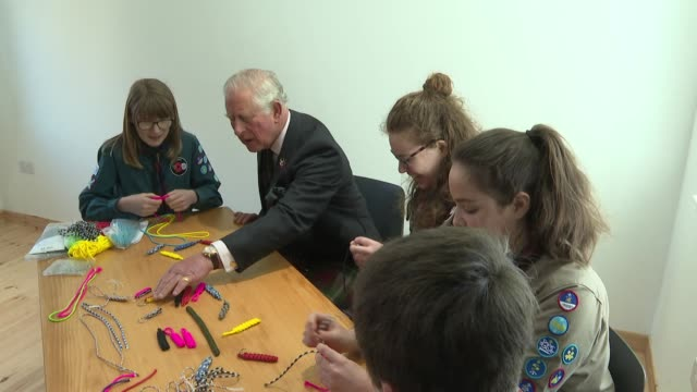 interior shots of prince charles chatting with a small group of girl scouts in macduff on 29th april 2019 scotland - scout association stock videos and b-roll footage