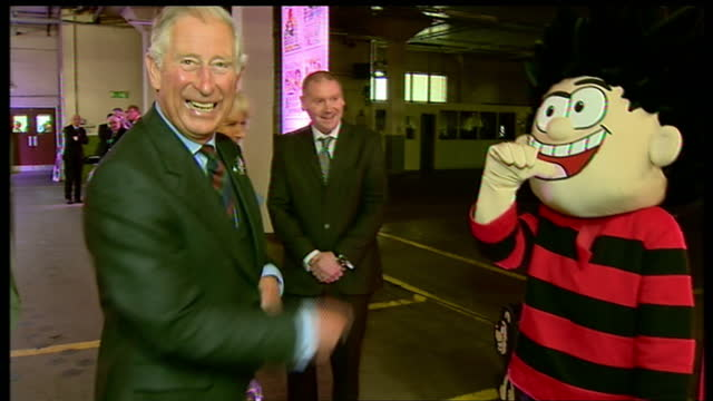 interior shots of prince charles duke of rothesay cornwall and camilla duchess of cornwall meeting dennis the menace character and getting mocked by... - dundee scotland stock videos and b-roll footage