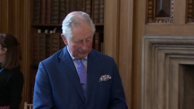 interior shots of prince charles during a visit to lambeth palace to present the cranmer awards at the prayer book society's thirtieth annual contest... - lambeth stock videos & royalty-free footage