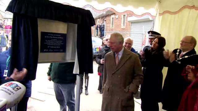 Interior shots of Prince Charles giving a short speech before unveiling a plaque to mark the restoration of the canal between Stonehouse and Thrupp...