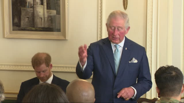 interior shots of prince charles giving a speech at clarence house to a meeting of experts and youth celebrity ambassadors on youth crime and... - prince of wales stock videos & royalty-free footage