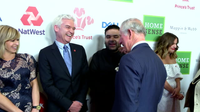 interior shots of prince charles greeting celebrity ambassadors including caroline flack, naughty boy, phillip schofield and kate garraway before the... - phillip schofield stock videos & royalty-free footage