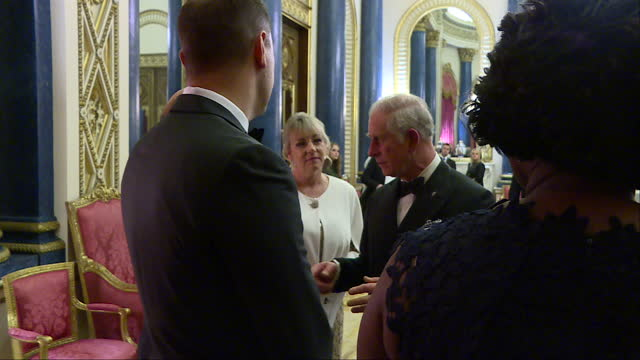 Interior shots of Prince Charles greeting guests before the Prince's Trust One Million Young Lives dinner at Buckingham Palace>> on December 14 2017...
