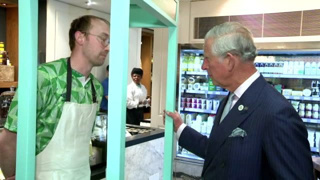 Interior shots of Prince Charles James Nesbitt and Theresa Villiers MP being shown various Northern Irish products on sale in Fortnum and Mason on...