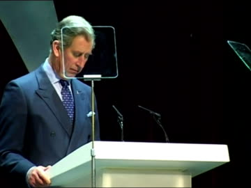 interior shots of prince charles making a speech at the 30th anniversary of the prince's trust celebrate success awards including shots of camilla... - プリンスズトラスト点の映像素材/bロール