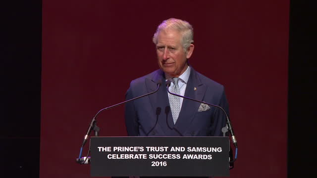 Interior shots of Prince Charles making a speech at the end of the Prince's Trust Awards 2016 with Ant and Dec stood by on stage on March 07 2016 in...