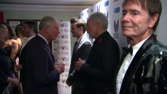interior shots of prince charles meeting celebrities at the pride of britain awards including louis tomlinson from one direction sir tom jones sir... - cliff richard stock videos and b-roll footage