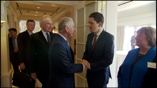 interior shots of prince charles meeting david miliband and other officials from the global ocean commission during an event to highlight the... - david miliband stock videos & royalty-free footage