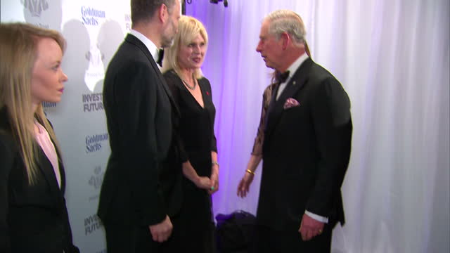 Interior shots of Prince Charles meeting Kylie Minogue Joanna Lumley Prince's Trust Ambassador Laura Tombs and Hugh Dennis at the Prince's Trust...