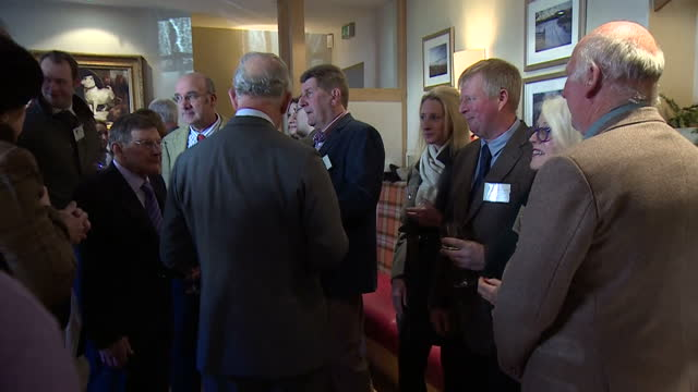 interior shots of prince charles meeting members of the local community during a christmas reception for tenants of the ramsbury estate on december... - wiltshire stock videos & royalty-free footage