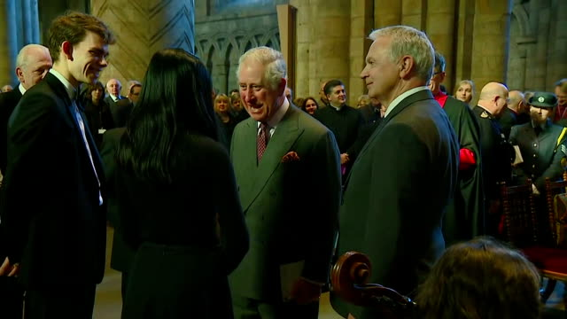 interior shots of prince charles meeting musicians and choir members after attending a concert of works by the composer sir hubert parry at durham... - イングランド ダラム点の映像素材/bロール