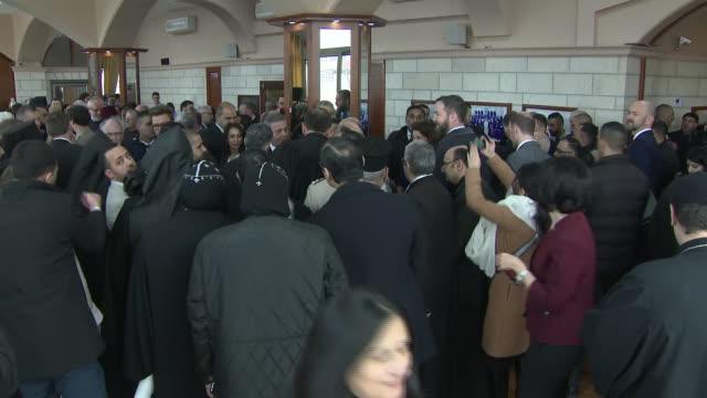 interior shots of prince charles meeting palestinian christians at the casa nova franciscan pilgrim house on 24 january 2020 in bethlehem, west bank - pilgrim stock videos & royalty-free footage