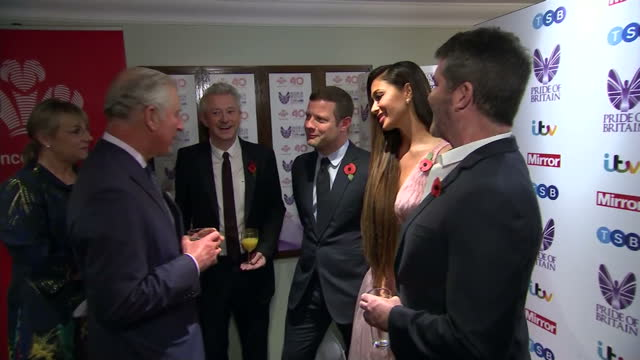 interior shots of prince charles meeting xfactor judges louis walsh simon cowell and his partner lauren silverman nicole scherzinger and presenter... - nicole scherzinger stock videos and b-roll footage