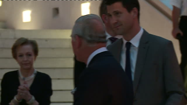 interior shots of prince charles mingling with guests at the opening of an exhibition at the british museum entitled 'indigenous australia' on april... - british museum stock videos & royalty-free footage
