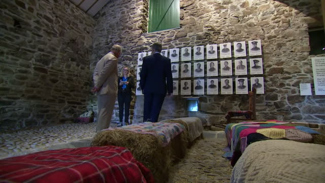 interior shots of prince charles on a visit to trawsfynydd inspecting exhibits in a museum on 5 july 2019 in trawsfynydd wales - gesellschaftsgeschichte stock-videos und b-roll-filmmaterial
