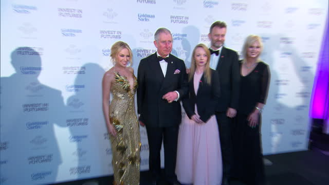 Interior shots of Prince Charles posing for photo op with Kylie Minogue Joanna Lumley Hugh Dennis and Prince's Trust Ambassador Laura Tombs at the...