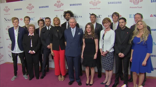 interior shots of prince charles posing for photos with patrons of the prince's trust including bear grylls, samantha bond, dynamo , geri horner ,... - kevin whately stock videos & royalty-free footage