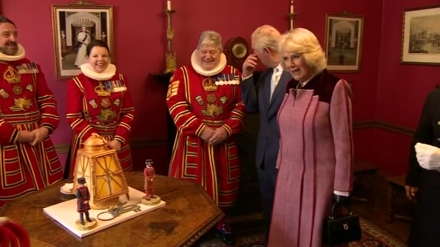 interior shots of prince charles, prince of wales and camilla, duchess of cornwall visit the tower of london to mark 535 years since the creation of... - tower of london stock videos & royalty-free footage