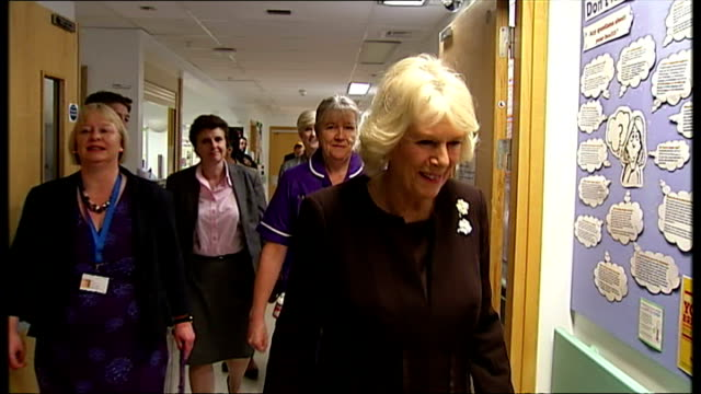 vidéos et rushes de interior shots of prince charles prince of wales and camilla duchess of cornwall on tour of king's college hospital visit a new mother holding her... - bébé de 0 à 6 mois