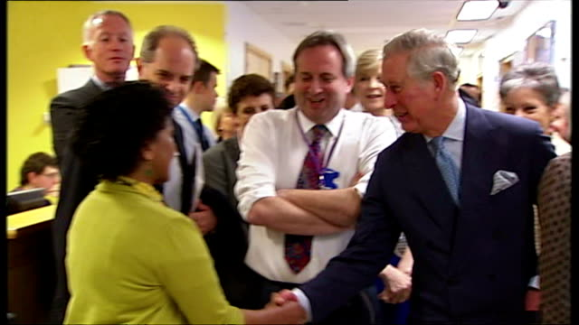 interior shots of prince charles prince of wales and camilla duchess of cornwall on tour of king's college hospital the pair shaking hands with... - pair stock videos & royalty-free footage