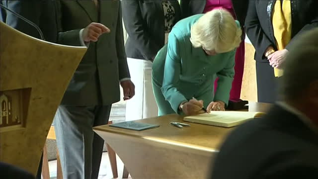 interior shots of Prince Charles Prince of Wales and Camilla Duchess of Cornwall signing the guest book at the National University of Ireland on May...