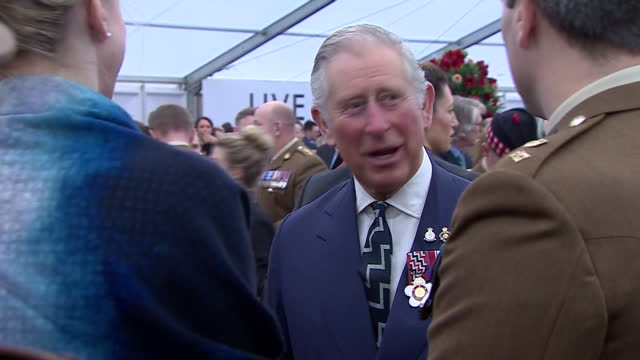 interior shots of prince charles prince of wales and camilla duchess of cornwall meet and greet with service men and women the memorial honoured the... - meet and greet stock videos and b-roll footage