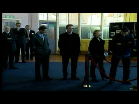 interior shots of prince charles prince of wales in line up of people including arthur edwards and hugo speer doing the full monty dole queue hot... - 1998 stock videos & royalty-free footage