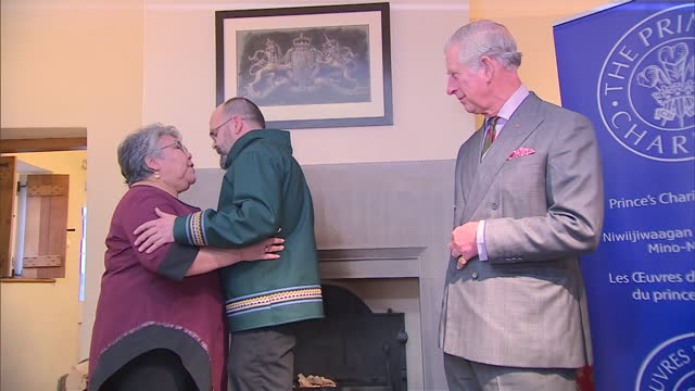 interior shots of prince charles prince of wales listening to robert watt and rita novalinga give traditional inuit throat singing performance on... - inuit stock videos & royalty-free footage