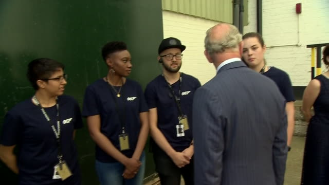 interior shots of prince charles prince of wales meeting cast and crew as he tours the set of the 25th james bond film at pinewood studios on june 20... - james bond fictional character stock videos and b-roll footage