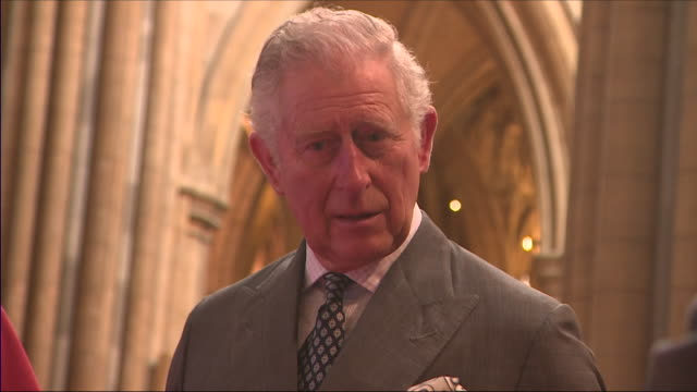 interior shots of prince charles signing a slate in support of truro cathedral's roof appeal whilst on a visit to the cathedral on 22 march 2018 in... - cornovaglia video stock e b–roll