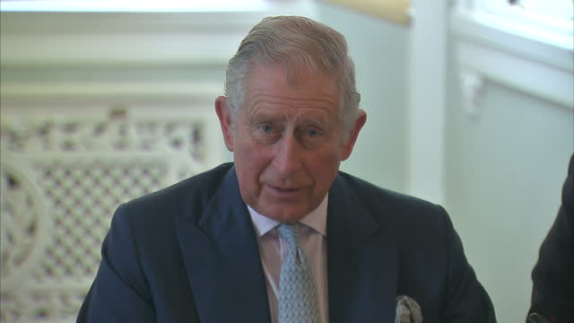 Interior shots of Prince Charles speaking during a meeting with business leaders to discuss ways that companies can reduce the environmental impact...