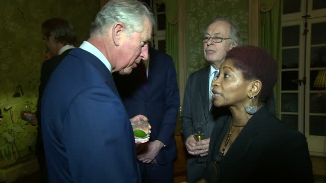 interior shots of prince charles speaking to actress and commentator bonnie greer during a recptions for americans living and working in the uk... - commentator stock videos & royalty-free footage