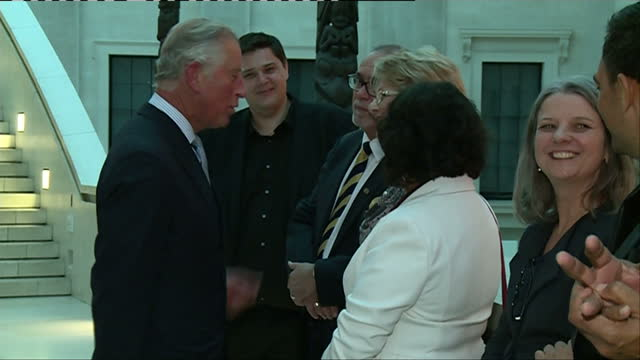 interior shots of prince charles speaking to members of staff in the british museum whilst opening a display of indigenous australian art on april... - british museum stock videos & royalty-free footage