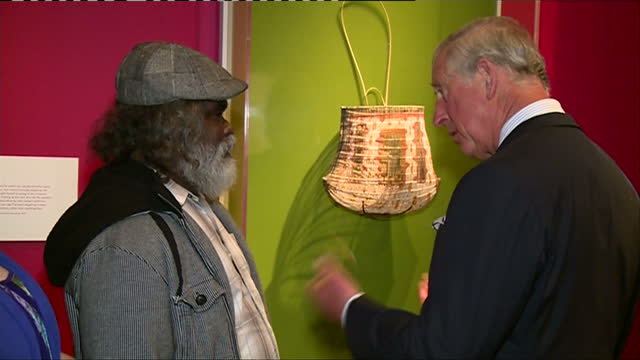 Interior shots of Prince Charles talking to an Aboriginal man at an exhibition on Indigenous Australia in the British Museum on April 30 2015 in...