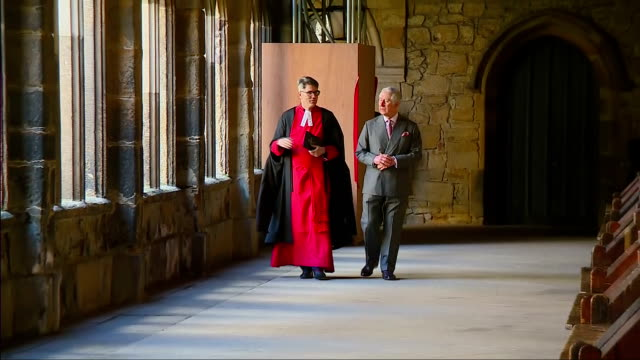 interior shots of prince charles touring durham cathedral and viewing parts of the open treasure exhibition>> on february 15 2018 in durham england - イングランド ダラム点の映像素材/bロール
