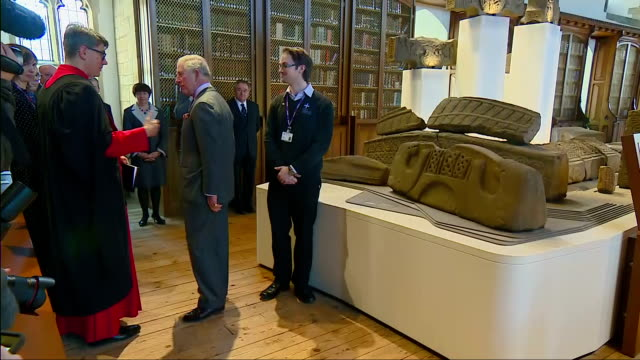 interior shots of prince charles touring the open treasure exhibition at durham cathedral>> on february 15 2018 in durham england - イングランド ダラム点の映像素材/bロール