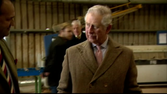 CLEAN Interior shots of Prince Charles touring the workshop at the Timberpride sawmill with cofounders Alec and Victoria Golesworthy and being...